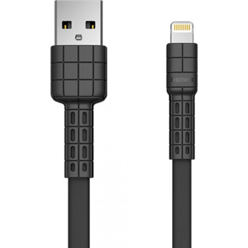 Remax Καλώδιο USB σε Lightning 2.4A RC-116 Flat υψηλής αντοχής 1m - Μαύρο