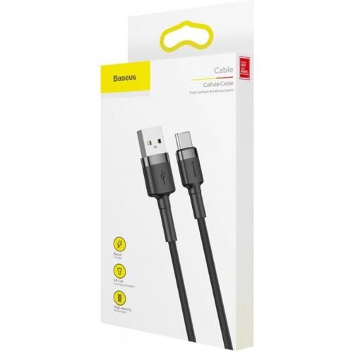 Καλώδιο Baseus® Cafule Braided USB 2.0 USB-C male - USB-A male 1m CATKLF-BG1 - Μαύρο