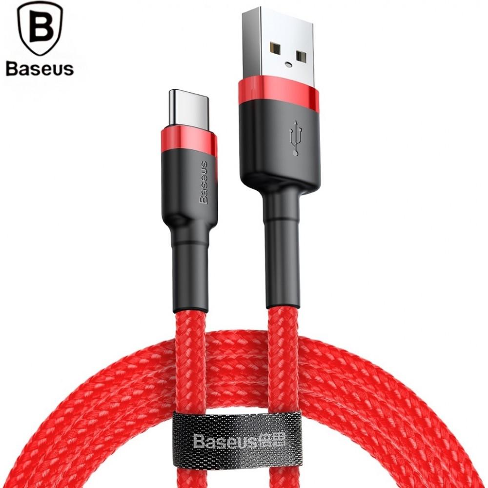 Καλώδιο Baseus® Cafule Braided USB 2.0 USB-C male - USB-A male 3m (CATKLF-U09) - Κόκκινο