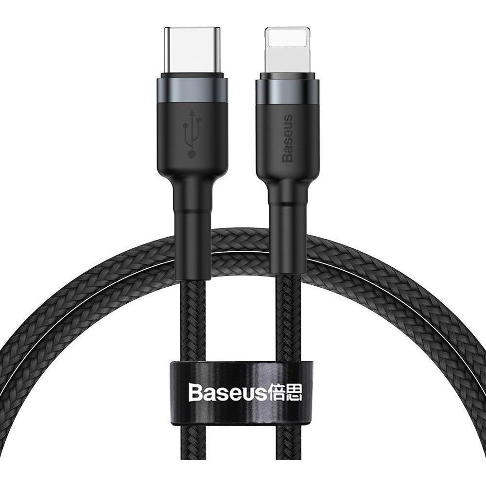 Καλώδιο Baseus® Cafule Braided USB-C to Lightning male 1m (CATLKLF-G1) - Μαύρο