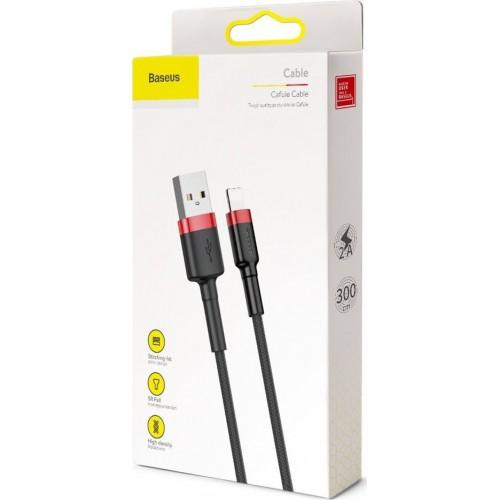 Καλώδιο Baseus® Cafule Braided USB to Lightning male 3m (CALKLF-R91) - Μαύρο Κόκκινο