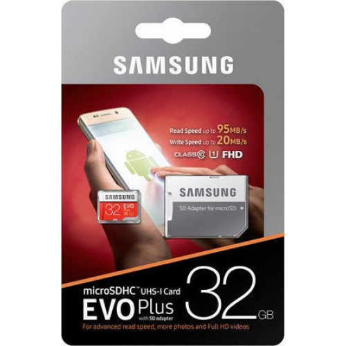 Kάρτα μνήμης Samsung Evo Plus microSDXC 32GB U3 with Adapter MB-MC32GA/EU