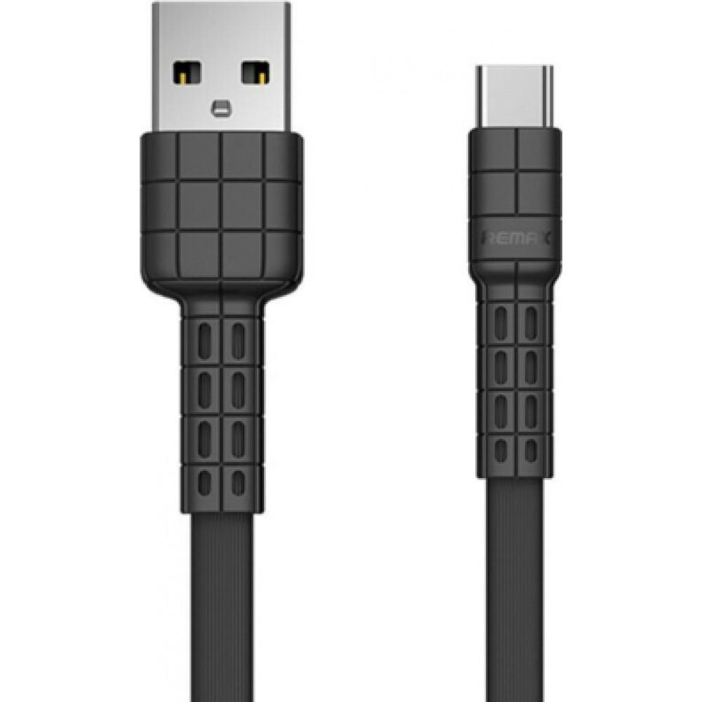 Remax Καλώδιο USB σε Type-C 2.4A RC-116a Flat υψηλής αντοχής 1m - Μαύρο